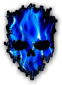 Dripping Skull With Electric Blue Flames external Vinyl Car Sticker 85x120mm